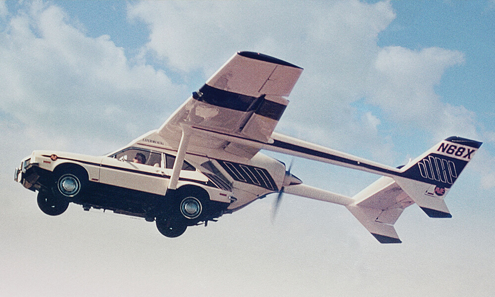 a 1970s flying car, based on the ford pinto car